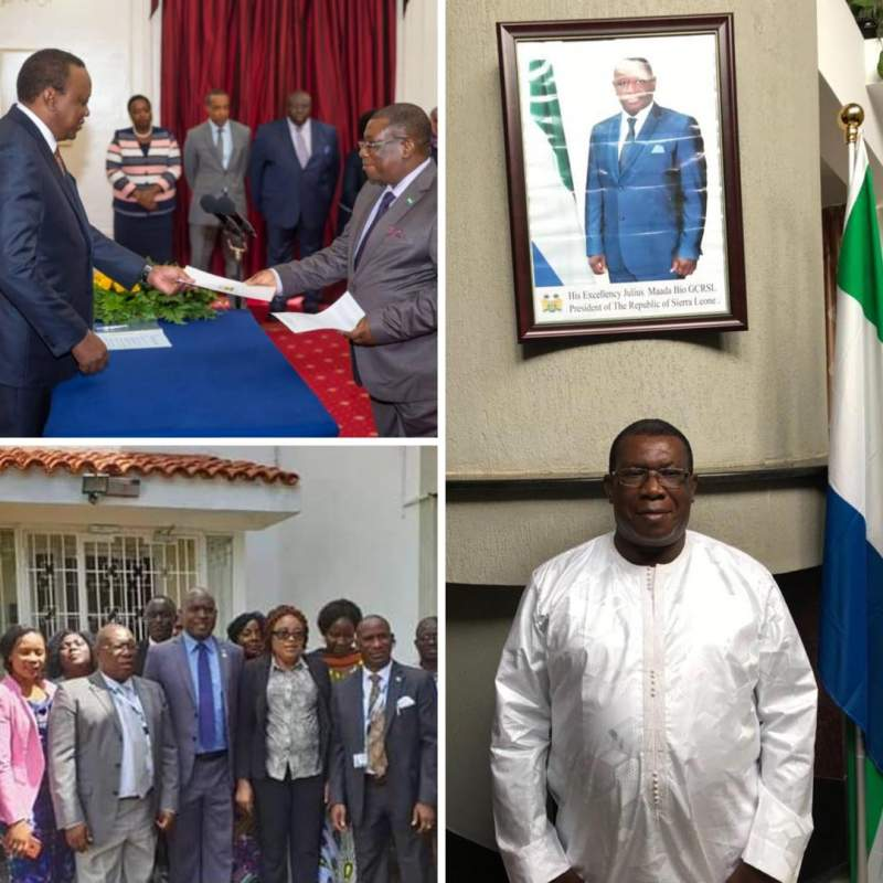 Photos showing: HE Peter Joseph Francis presenting letter of credence to HE UHURU KENYATTA President of Kenya; Minister Alie Kabba and High Commission's staff; and HE Peter Francis paused for a photo inside the High Commission