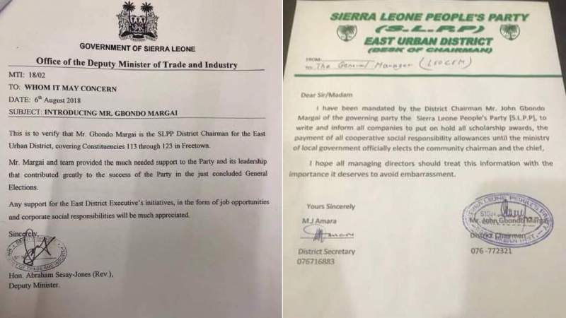 Two letters: First from the Deputy Minister of Trade and Industry; the other from the SLPP East Urban District Chairman