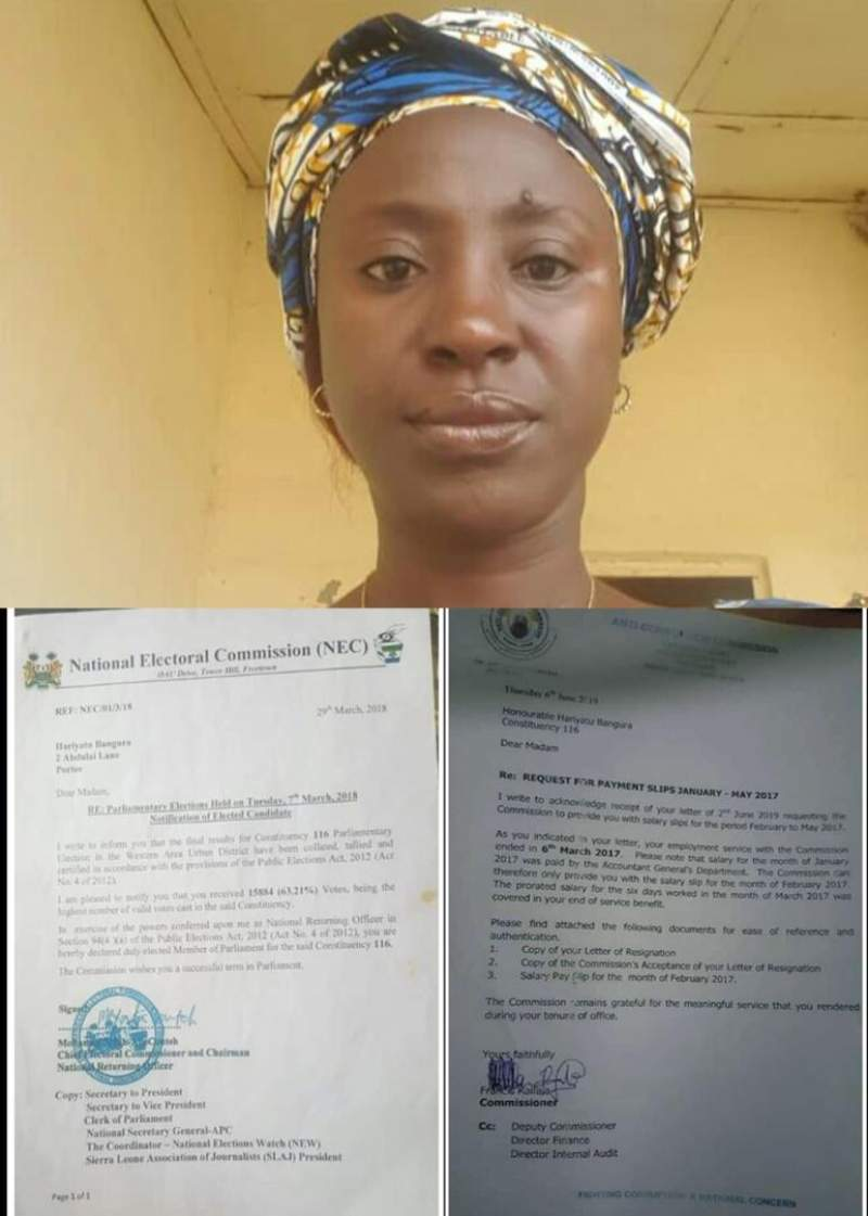 Hon. Hariyatu Ariana Bangura, her election letter from the National Electoral Commission and the Letter from ACC confirming that she actually resigned more than a year before the March 28th 2018 Parliamentary elections